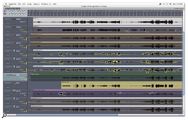 Logic Audio's automation was used extensively during mixdown, to maintain a correct balance between elements.