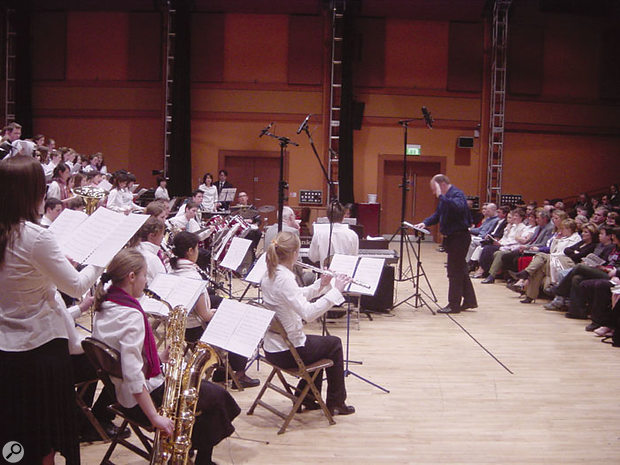 The Soundfield mic, positioned high above the conductor, was intended to provide the main stereo coverage of the choir and orchestra. Two spot mics (Sennheiser MKH40s) were also used on the choir.