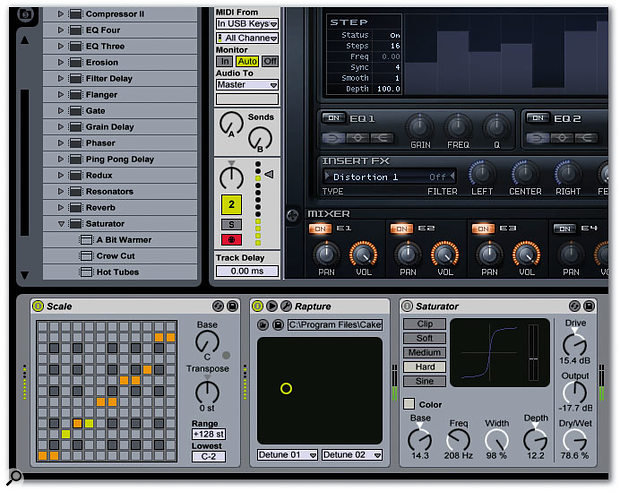 The MIDI track contains a Scale MIDI effects plug-in, an instance of Cakewalk's Rapture, and Live's Saturator audio plug-in at the output. The MIDI track's Monitor is set to Auto, so the track needs to be record-enabled in order to pass the incoming MIDI data through to the instrument.