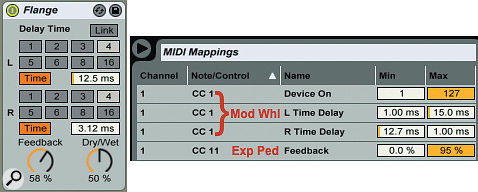 1: Very short, different right- and left-channel delay times simulate a  flanger-like effect. MIDI CC 1 (Mod Wheel) is assigned to modulate the delay times in opposite directions with different ranges as well as to deactivate the device when the wheel is all the way down. Try it in a  fixed position for detuning effects or change it in real time for a  moving, flanger-like effect. MIDI CC 11 (Expression Pedal) is mapped to feedback to control the depth of the effect.