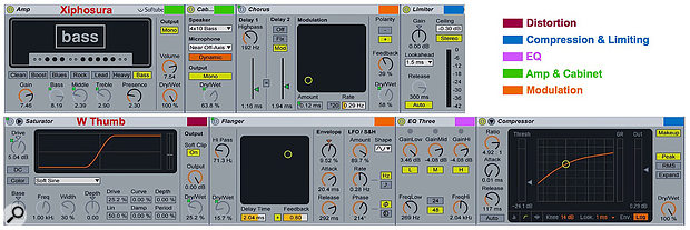 2: Bass-processing effects chains from the Xiphosura and W Thumb Racks in Live's Core Pack.