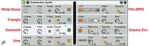 4: Here's a simple subtractive synth using the parallel algorithm. The preset oscillator waveforms, pitch envelope routing to global volume and LFO routing to pan were set up in the central display. Folding the central display leaves typical subtractive-synth controls in the side panels.