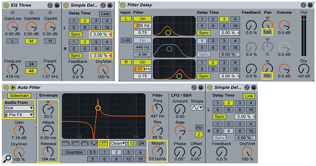 2: EQ Three restricts Simple Delay to a frequency band (left). Filter Delay applies different delays with their own filtering to the left, centre and right channels (right). Auto Filter applies a modulated filter before Simple Delay (bottom).