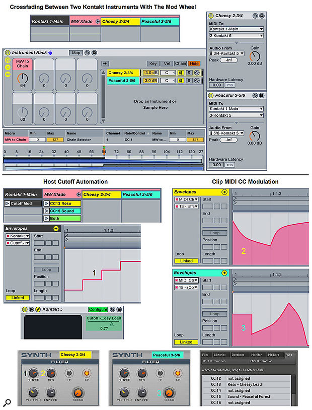 Screen 2: Two External Instruments in an Instrument Rack on a single track crossfade between two Kontakt instruments (top). Clip-based Host Automation and MIDI Control Change messages modulate Kontakt instrument parameters (bottom).