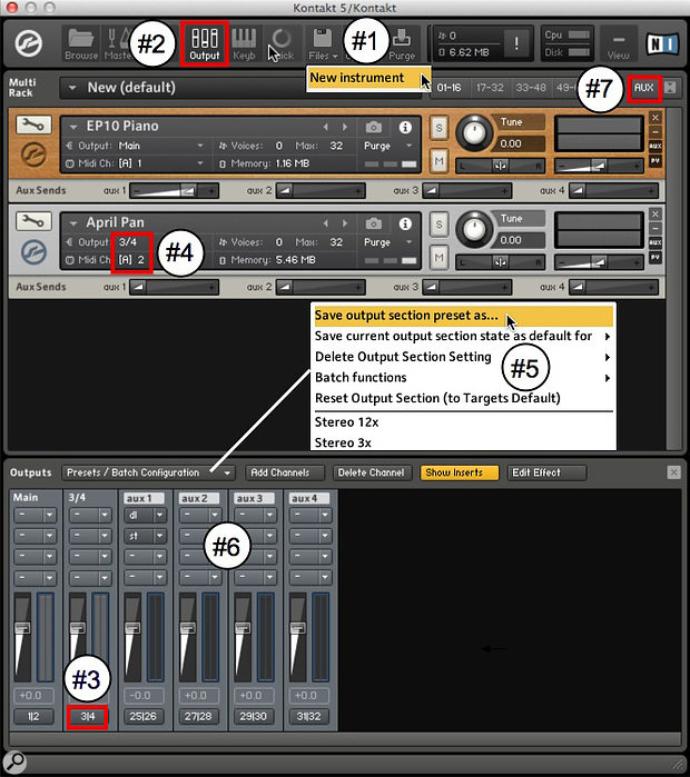 Screen 3: Here are seven steps for configuring Kontakt's outputs, and setting up a couple of Kontakt instruments with different MIDI inputs and audio outputs.
