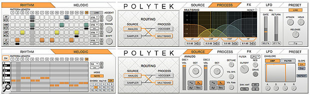 Screen 3: The Polytek panel's Rhythm sequencer gates the bands of the Multi-band processor (top) while the Melodic sequencer plays the Source instrument, Analog in this case.