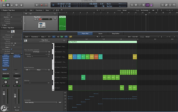 Screen 1: Using Logic's Brush and Velocity tools together to program beats in the Piano Roll editor makes it easy to input notes and quickly adjust their velocities.
