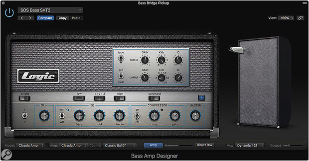 Screen 1: Logic's Bass Amp Designer plug-in has a range of different models. Here we are using the Classic Amp model to emulate an Ampeg SVT.