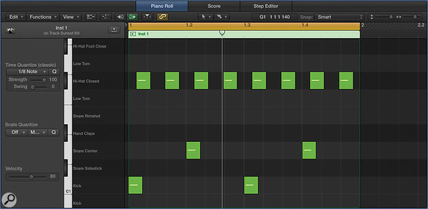 Screen 2: To give your drum beats a lazy feel set the grid to 1/12, select all your straight eighth-note hi-hats and delay them such that the second of each pair of hi-hats lines up with the third triplet of each beat.