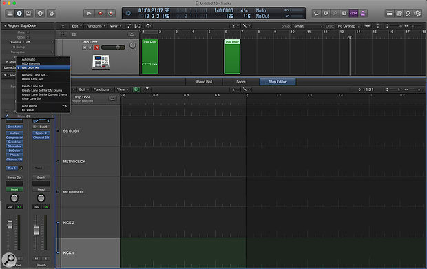 Screen 2: Logic's Step Editor has a series of preset layouts. Here I am going to use the GM Drum Kit layout to program some drums.