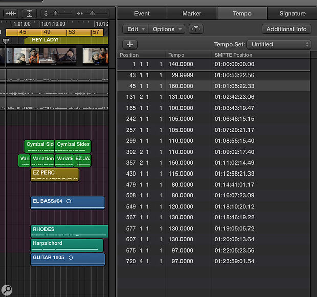 Screen 2: Type in the original start time (SMPTE position) of cue 2 into its Tempo Event and hit return. Logic automatically adjusts the tempo of our new Tempo Event to perfectly place the second cue to start at the timecode we specified. The tempo which was previously 140bpm becomes 29.9999bpm.