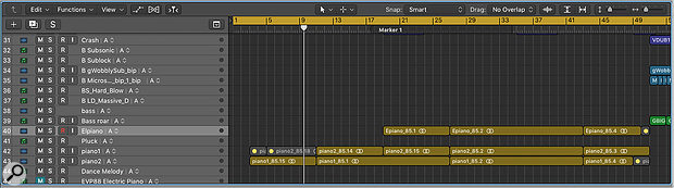 Screen 3: All the tracks in my arrangement are grouped by Track Alternative. Here we see the arrangement when all tracks are set to Track Alternative A.