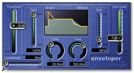 Here's a setting for when you're using Logic's Enveloper plug-in in a separate channel to add attack elements to a sound. Such an extreme setting sounds pretty unlistenable on its own, but it can produce amazing improvements in attack when mixed back in with the main bass-drum channel. Notice that the Lookahead parameter has been set to zero to avoid phasing problems and the Out Level has been reduced to avoid clipping.