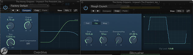 Screen 4: To create more of an old-school, gritty sampler vibe we can use Logic's Bitcrusher and Overdrive insert effects to add distortion and remove top end.