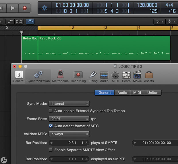 By adjusting the bar position in the Synchronization settings, you can start the clock at any point in your track.