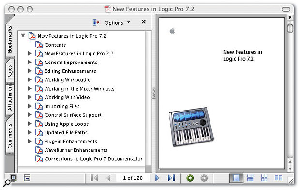 The PDF update manual demonstrates that the v7.2 update goes well beyond being a straight conversion of Logic Pro for use on Intel-based Macs.