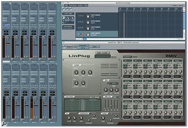 Linplug's RMIV synth/sampler is capable of individually routing its sounds to different mono or stereo audio outputs. In this example RMIV's first 12 virtual pads are assigned to four stereo outputs and eight mono outputs. The first stereo output is handled by Logic's Instrument Audio object, whereas the remaining outputs are handled by eleven Aux objects.