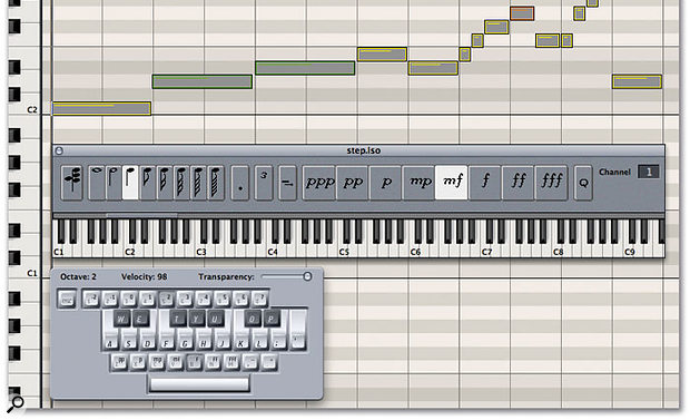The 'In' icon in Logic's Matrix, Event and Score editors (shown in red, below) enables notes to be inserted by a MIDI keyboard (or the Screen Keyboard, shown here) without running through a recording pass. The Step Input Keyboard (above the Screen Keyboard) gives you more control over the incoming information, and you can still edit the data on screen, using Logic's editors, as if you'd recorded it in real time.