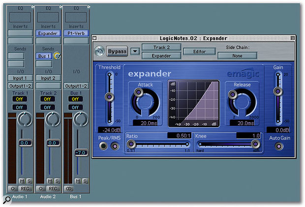 By placing an Expander plug-in before your vocal reverb, you can keep the sound drier in the quieter passages than in the louder passages.