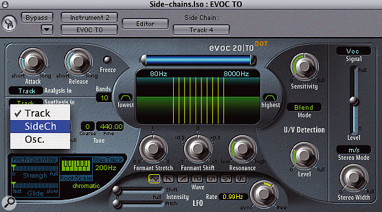 Some effect processes require two separate input signals to operate at all, among them vocoding and ring modulation. In Logic the EVOC TO vocoder and Ringshifter ring modulator both have internal sound generators to allow usable results when processing single instruments, but the best results come from experimenting with the side-chain possibilities.