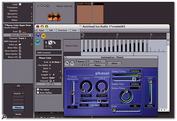 Controlling the Phaser plug-in using Fader messages created in the Hyper Edit window.