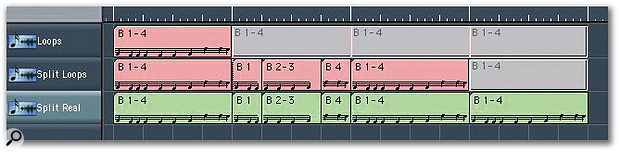 The top track here shows a four-bar sequence for which looping has been turned on. The track below it shows what happens when the Marquee slices the second iteration of the loop after the first and third bars — the three new slices become real copies, and another real copy follows them, looped as before. The third track shows the same edit when the original four-bar region was copied rather than looped. Sonically, all these tracks are identical.