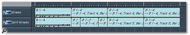 The top track here shows the four-bar MIDI sequence again repeated, but this time using Aliases rather than real copies. Because of the way Aliases respond to Marquee-tool edits, the sound of the edited track below will be different — each new Alias will play from the beginning of the original MIDI sequence.
