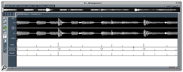Setting up a Groove Template from the Sample Editor window. You can see where the audio falls in relation to the quantisation values, and where the resulting Groove Template would place the quantisation points.