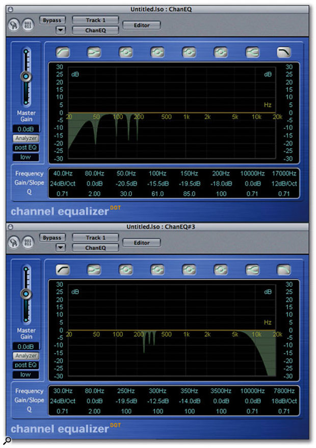 Here you can see how to set up a chained pair of Channel EQ plug-ins to reduce levels of hum and noise in a guitar recording.
