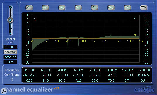 High-Q filtering in Channel EQ is very useful for snare-drum processing, not only for cutting out unattractive low-frequency resonances, but also for boosting particular high-frequency resonances which can make the sound more audible without radically affecting the instrument's tonality.