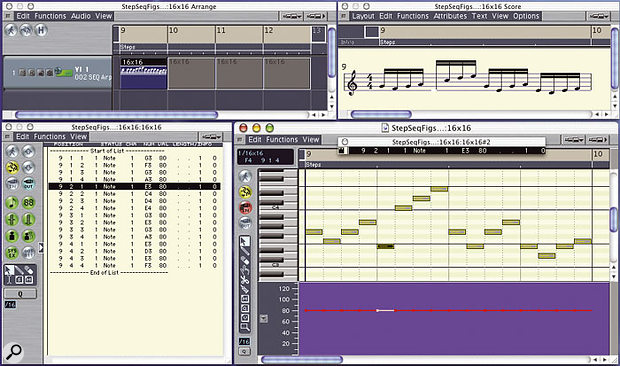 A convenient arrangement for creating and editing step sequences in Logic's MIDI editors. The Matrix Edit window (bottom right) is always the active window for access from the keyboard and MIDI Remote Key Commands, and is surrounded by floating Arrange window, Event List window, and Score window, for reference and editing with the mouse.