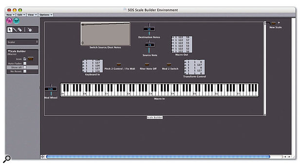 This initial Macro lets you quickly program any number of Transformer objects with your choice of scale. The position of the mod wheel is used to dictate which of two Meta messages the MIDI Note On messages are converted to. These messages then set the position and value fields in the final Transformer object.