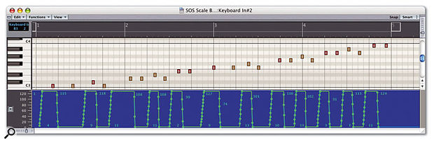 This sequence file shows the result of recording the MIDI from your controller keyboard while programming a user scale into a Transformer object via the Macro described in the article.