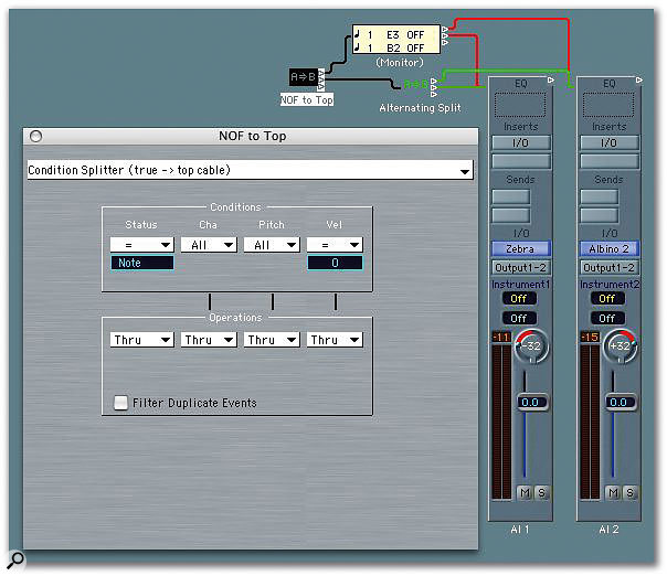 Here MIDI Note Off events are split by the NOF To Top Transformer object and sent to all Audio Instrument objects. Note Ons are routed to an Alternating Split Transformer, which splits them between the two connected Audio Instrument Objects.