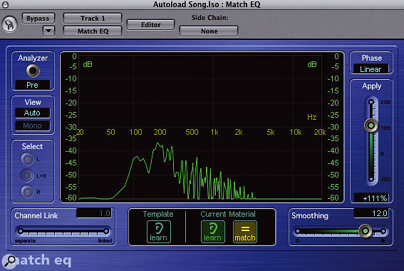 The EQ curves for the reference recording.