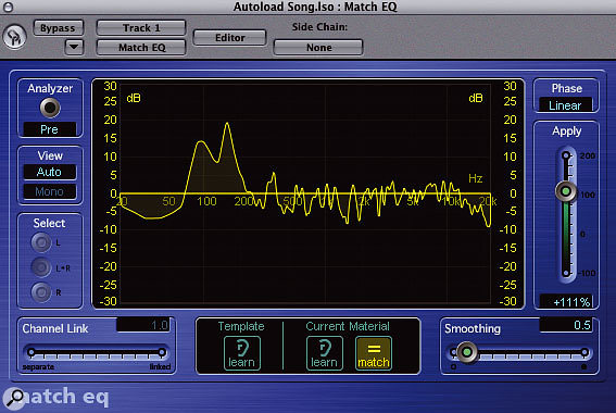 Match EQ showing the DI'd signal combined with the reference EQ.