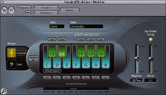 A common mistake when attempting vocal tuning fixes using the Pitch Correction plug-in is to set the response time too fast, which can remove the expressive inflections in the performance, making the voice seem lifeless and mechanical.