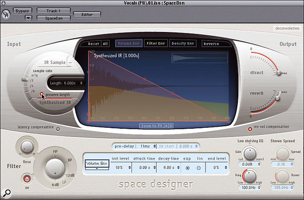 You can reduce the processing load placed on your computer by the Space Designer plug-in by halving the Sample Rate setting, and then activating the Preserve Length button. This will limit the high-frequency response of the reverberation to 10kHz, but that will be of little concern in most projects.