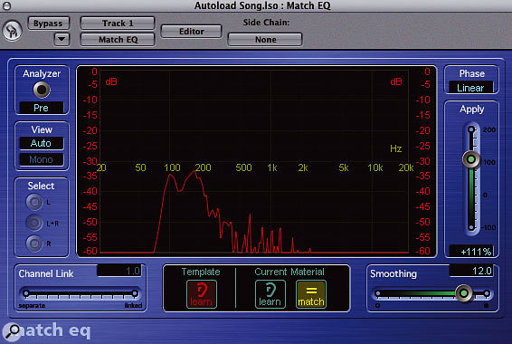 The EQ curves for the original DI'd recording.