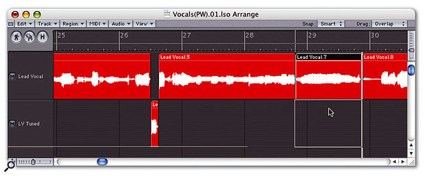 Another tactic for getting natural pitch-correction results is to process only the relevant sections of a vocal track, rather than the whole thing. You can do this by setting up an adjacent pair of tracks in the Arrange window, only one of which feeds the Pitch Correction plug-in. That way you can simply move regions between the two tracks to dictate which sections of the vocal performance are to be processed.