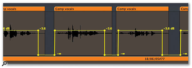The first thing to do with compiled vocal takes is to remove any extraneous rubbish between takes.
