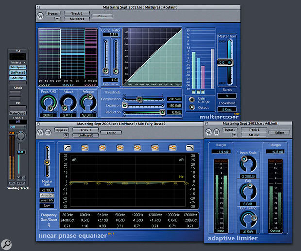 Here you can see a good all-purpose mastering configuration within Logic, made up of Multipressor, Channel EQ (or Linear Phase Equaliser), and Adaptive Limiter plug-ins in series.
