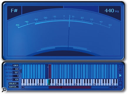 The main display in its tuner mode: here, you can see the software automatically guessing the pitch of the currently played note. This tool is useful, helping you to precisely set a sample's playback pitch.