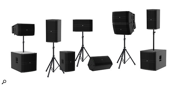 DRM12 (12-inch full-range unit), DRM12A (line-array element) and DRM18S (subwoofer) units from Mackie's new range in various mounted and floor-standing configurations.