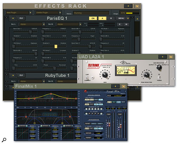 Plug-in parameters are available directly from the Effects Rack screen, but many plug-ins also have a dedicated graphical user interface which can be accessed via the GUI button.