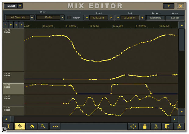 If you wish to edit mix automation in detail, the on-screen Mix Editor window offers much the same functionality as you'd expect from a software sequencer.