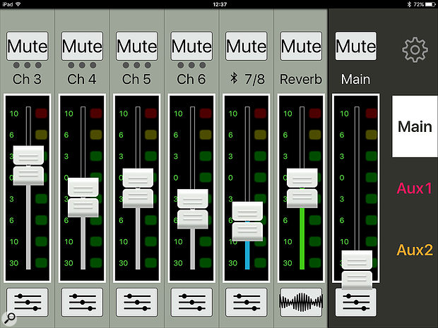 The MixConnect app's main mixer view.