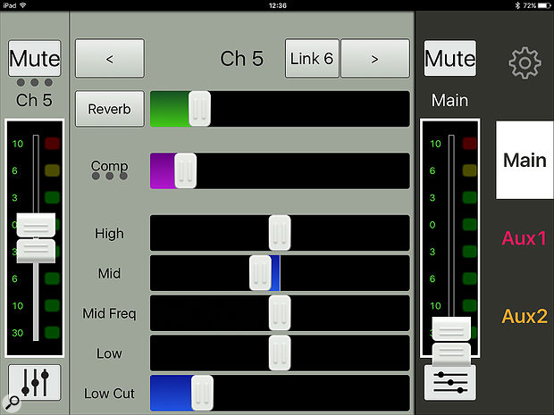 The channel settings page, in which EQ, compression and reverb amount can be adjusted.