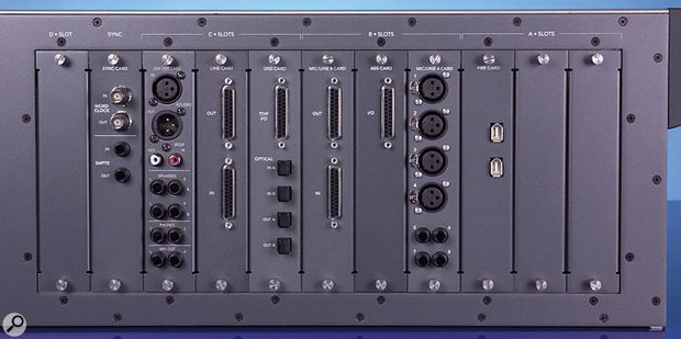 All the option cards currently available for the X200 (left to right): Sync Card, Mix Out Card, Line Card, Digital Card, Mic/Line 8 Card, AES Card, Mic/Line 4 Card, and Firewire Card. Of these, the first two are included with the X200 as standard, and the eight remaining slots can be filled with any combination of the other six optional cards.