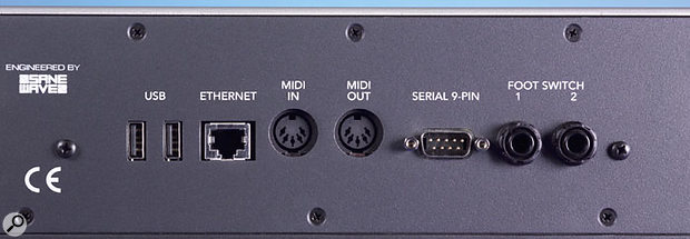 A few miscellaneous data connections, including USB and MIDI sockets, can be found at the other end of the rear panel.